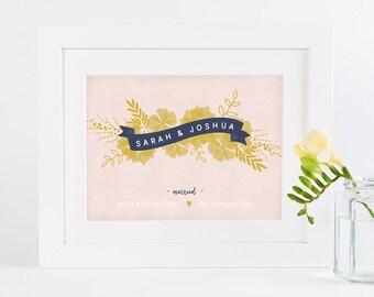 Wedding Personalised Print Botanical Banner Mustard & Blush