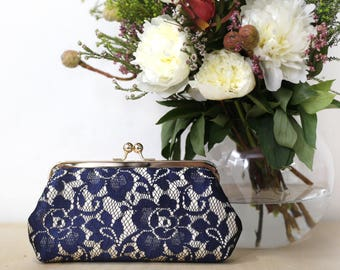 Champagne and Navy Peony Lace Bridal Clutch | Bridesmaid Clutch