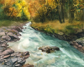 Forest stream - Original watercolour painting