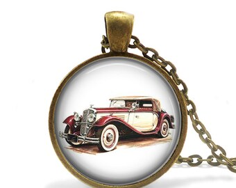 Antique Car Photograph Bronze Necklace, Classic Car Necklace, 1920, 1940, 20th Century Car, Car Collector, Gifts For Dad or Husband Present