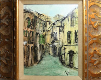 Original Mid Century Modern European Town/Cityscape Oil-Beautiful Gold Frame