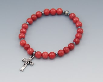 Cross Charm Bracelet - Pink Bracelet - Christian Jewelry - Stretch Bracelet - Item # 310