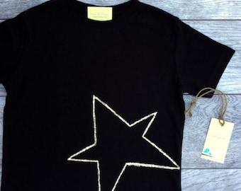 Star - Gold Star - Shimmering  Star -Toddler T-Shirt - Black T-shirt