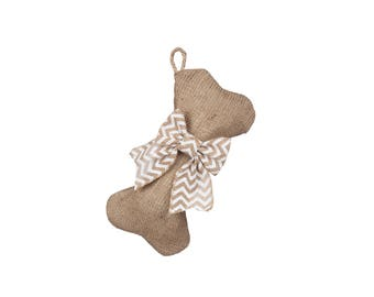 Mini-Dog Bone Stockings - Burlap Pet Stocking