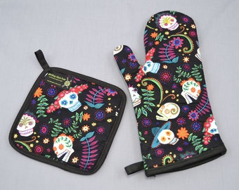 Day of the Dead Sugar Skulls Oven Mitt and Pot Holder, Sets and Singles, Colorful Flowers on Black Background