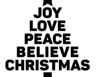 FESTIVE word CHRISTMAS TREE Decal