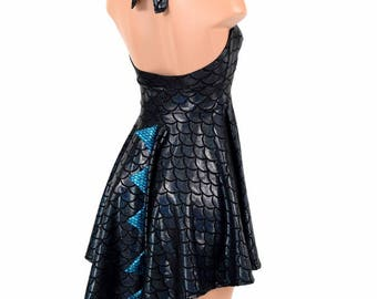 Black Dragon Scale Halter Tie Back Dragon Tail Hemline Skater Dress with Aquamarine Fish Scale Spikes - 154846