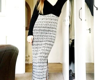 Black and white printed maxi dress with wrap around front