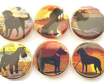 Dog Magnets, Beach Dogs Magnets, Refrigerator Magnets, Beach Theme, Fridge Magnets, Pet Gift, Dog Lovers Gift, Unique Dog Gift, 6/Set