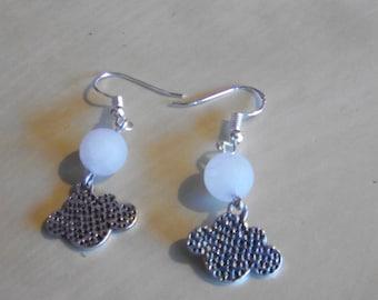 DANGLING beads and cloud EARRINGS quartz