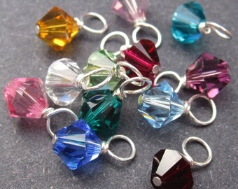 Swarovski Birthstone Charm, Swarovski Crystal Charm, Bracelet Charms, Necklace Charms, Swarovski Bicone Charm 6mm CHOOSE THREE