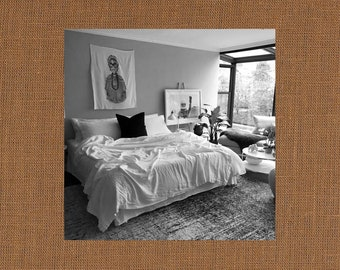 Khaki Tan Linen Coverlet - Bold Bedding - Made to Order in the USA