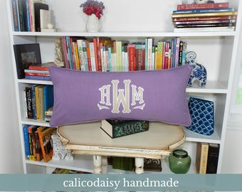 Large Applique Monogram Pillow Cover - 14 x 28 OR 14 x 36 Lumbar Pillow Cover