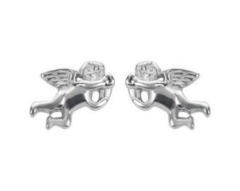 Cherub Angel Earrings Post & Nut Stainless Steel Motorcycle Biker Jewelry