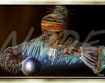 """Reproduction of art (A4) """"Artist NADE"""" the magic ball. You can see a video of these works on this link https://youtu.be/Mm84CgyvWO8"""