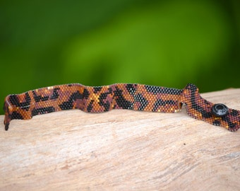 Beaded Snakeskin Bracelet - Reticulated Python - Thin Cuff