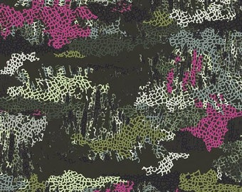 "Esoterra, Katarina Roccella, Camouflage Mimicries, KNIT, Cotton/Spandex, Green and Pink Knit Fabric, 58"" WIDE, BTHY, K-76500"