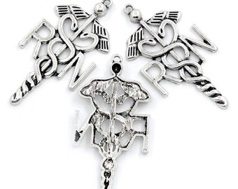 2 Large Nurse RN Charms Antique  Silver Tone - SC1269