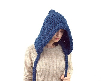 Large Knit Chunky Pixie Hood Hat with Ties | The Boston