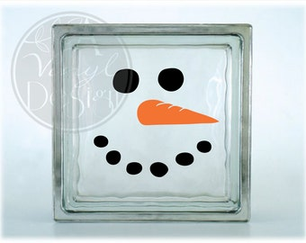 Snowman face vinyl decal