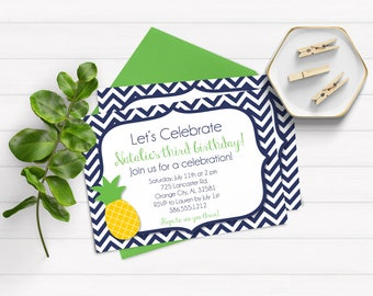 Pineapple Birthday Invitations, Luau Invitations, Tropical Invitations, Hawaiian Invitations, Navy Birthday Invitations , Adult Birthday