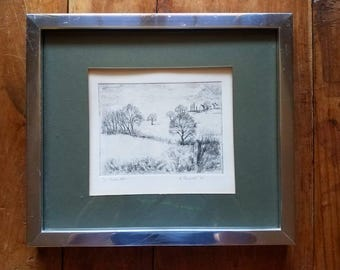K Percival Pen and Ink Etching, Original Etching, K Percival Art,Original Art, Original Painting, Modern Art, Wall Deco, Landscape Etching