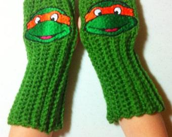 Kids TMNT Arm warmers / Fingerless gloves / Wrist warmers handmade