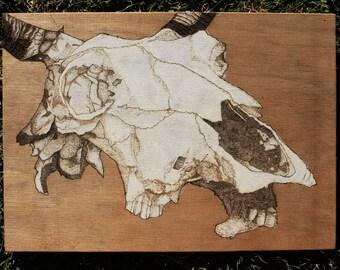 Cow Skull Woodburning