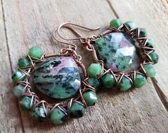 Ruby Zoisite Earrings, Wire Wrapped Gemstone Hoops, Green Gemstone Earrings, Ruby Zoisite Briolette, Hoop Earrings, Ruby Zoisite Jewelry