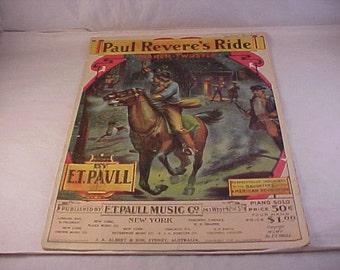 Vintage Sheet Music Paul Revere's Ride