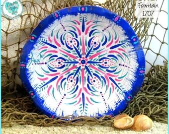 Kaleidoscope Mandala Bowl, Handpainted Wood, OOAK, *white, pink, turquoise, blue* #1707