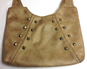 The Stud: Tan Faux Leather Should Purse with Metallic Studs
