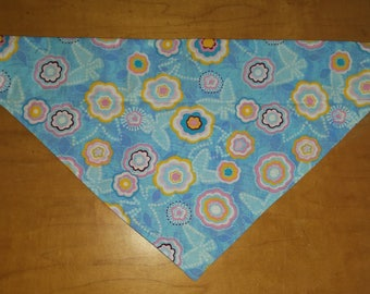 Floral over the collar dog bandana, dog scarf, bandana for dogs, slip on dog bandana,Easter dog bandana