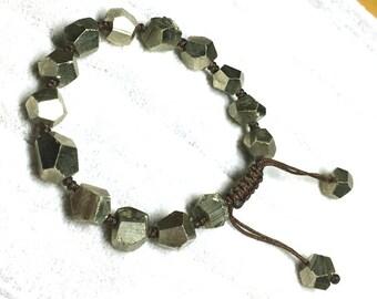 Genuine Pyrite Bracelet 8-9mm, Natural Faceted Golden Pyrite Beads, Pyrite Nugget Beads, Faceted Pyrite Beads, Rough Pyrite Bracelet Jewelry