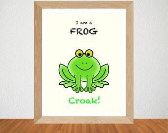 Nursery Wall Art, Nursery Decor, Nursery Prints, Cute Frog Nursery Art, Printable Frog Digital Download, Frog Nursery Print, Frog Wall Art