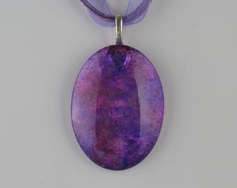 Purple & Magenta Glass Cabochon Necklace