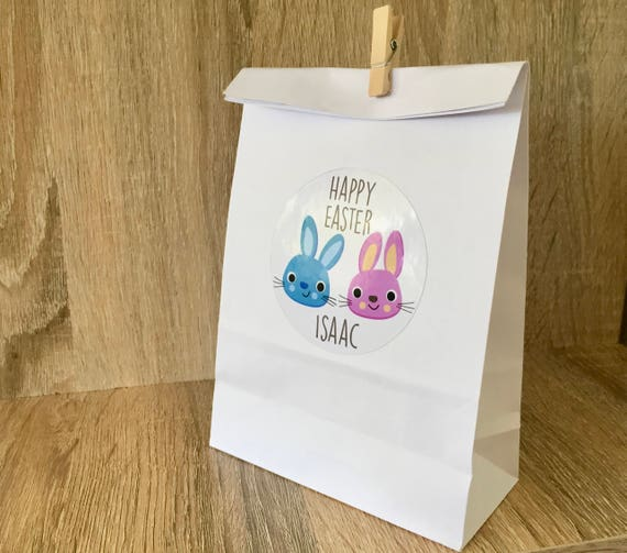 6 personalised easter gift bags party favour bags easter egg negle Gallery