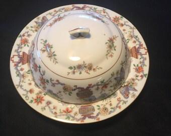 Antique Royal Worcester Pekin Covered Muffin Plate, Pekin, Asian motif porcelain, Bone China