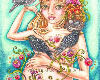 "I am a Beautiful Home - an 8 x 10"" ART PRINT celebrating the beauty of motherhood and pregnancy with ravens for luck and doves for peace"