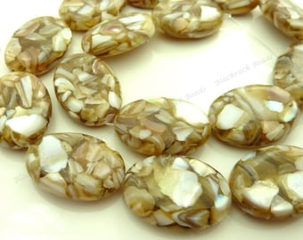 24x18mm Dark Sandy Brown and White Mother of Pearl and Resin Oval Beads - 15pc Strand - White Pearl Chips, Mosaic Pattern, Puffed - BQ29