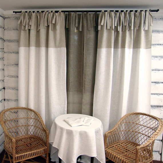 Linen Curtain Panel White Tie Top 100 Linen Custom Length Eco