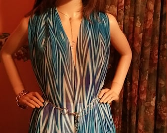 Summer Wear: Sapphire and White Stripes Chiffon Summer Top, Cosmic Fairy Dust Maxi Chiffon Dress~