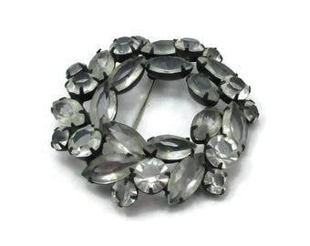Clear Rhinestone Brooch Pin Round Shape Japanned Back Vintage Jewelry Designer Christmas Gift Idea Scarf