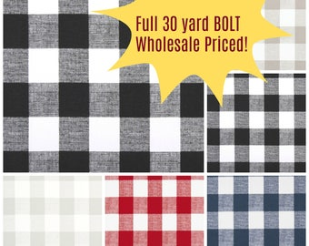 Buffalo Plaid Fabric by the BOLT Upholstery Home Decor Curtain Pillow Runner Drapes Premier Prints black grey ecru red blue white 30 yards!