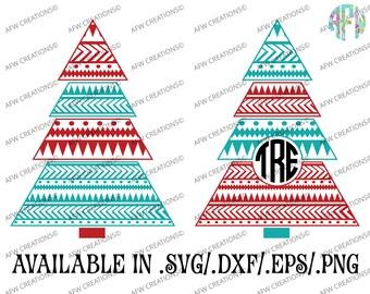 Digital Cut File, Aztec Christmas Trees, SVG, DXF, EPS, Monogram, Split, Tribal, Vinyl, Santa, Vector, Silhouette, Cricut, Holiday, Winter