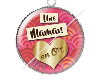 Cabochon resin cameo in gold MOM