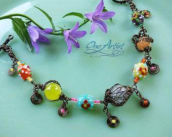 Bohemian Bronze Bracelet, Gemstone, lampwork glass, wirewrapped