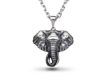 Elephant pendant etsy elephant necklace elephant jewelry silver elephant elephant pendant animal jewelry head elephant elephants gift indian elephant aloadofball Image collections