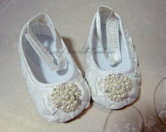 White Rosette Flower Baby Girl Shoes,Wedding,Christening Shoes