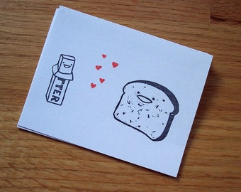 Butter Loves Toast Single Notecard